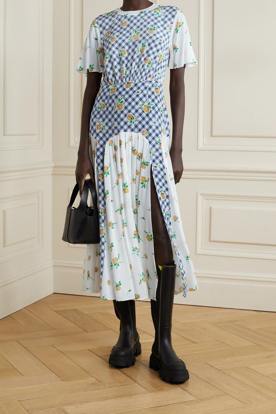 RIXO Jennifer paneled printed silk-crepe midi dress