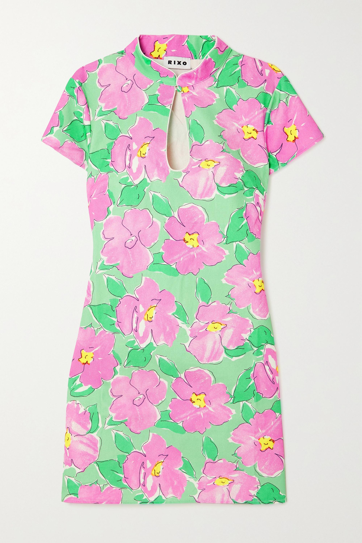 RIXO Mini-robe en coton à imprimé fleuri et à découpe Lolita