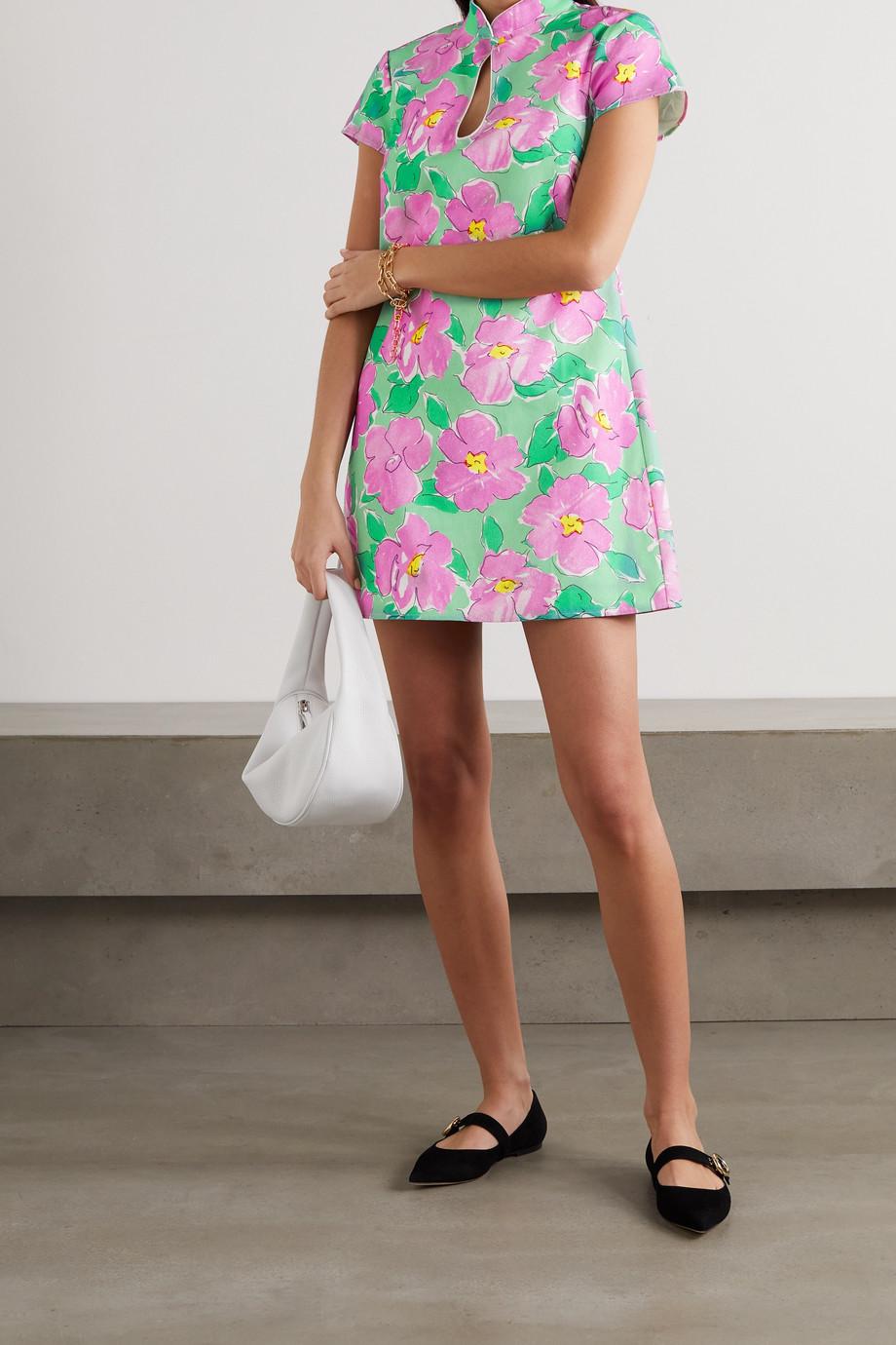 RIXO Lolita cutout floral-print cotton mini dress