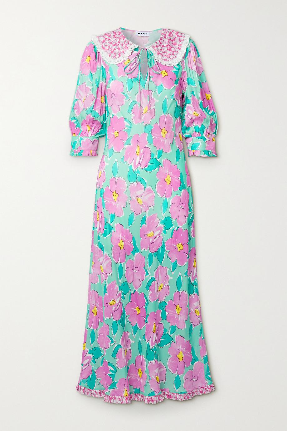 RIXO Lauren crochet-trimmed floral-print crepe midi dress