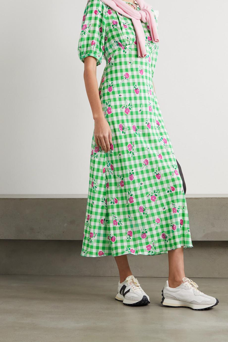RIXO Gwen gingham floral-print crepe midi dress