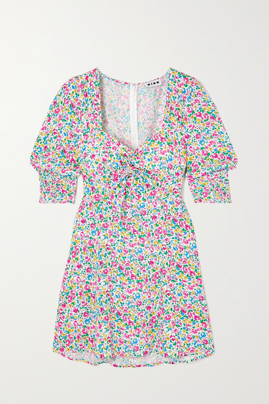 RIXO Larissa bow-detailed floral-print crepe mini dress