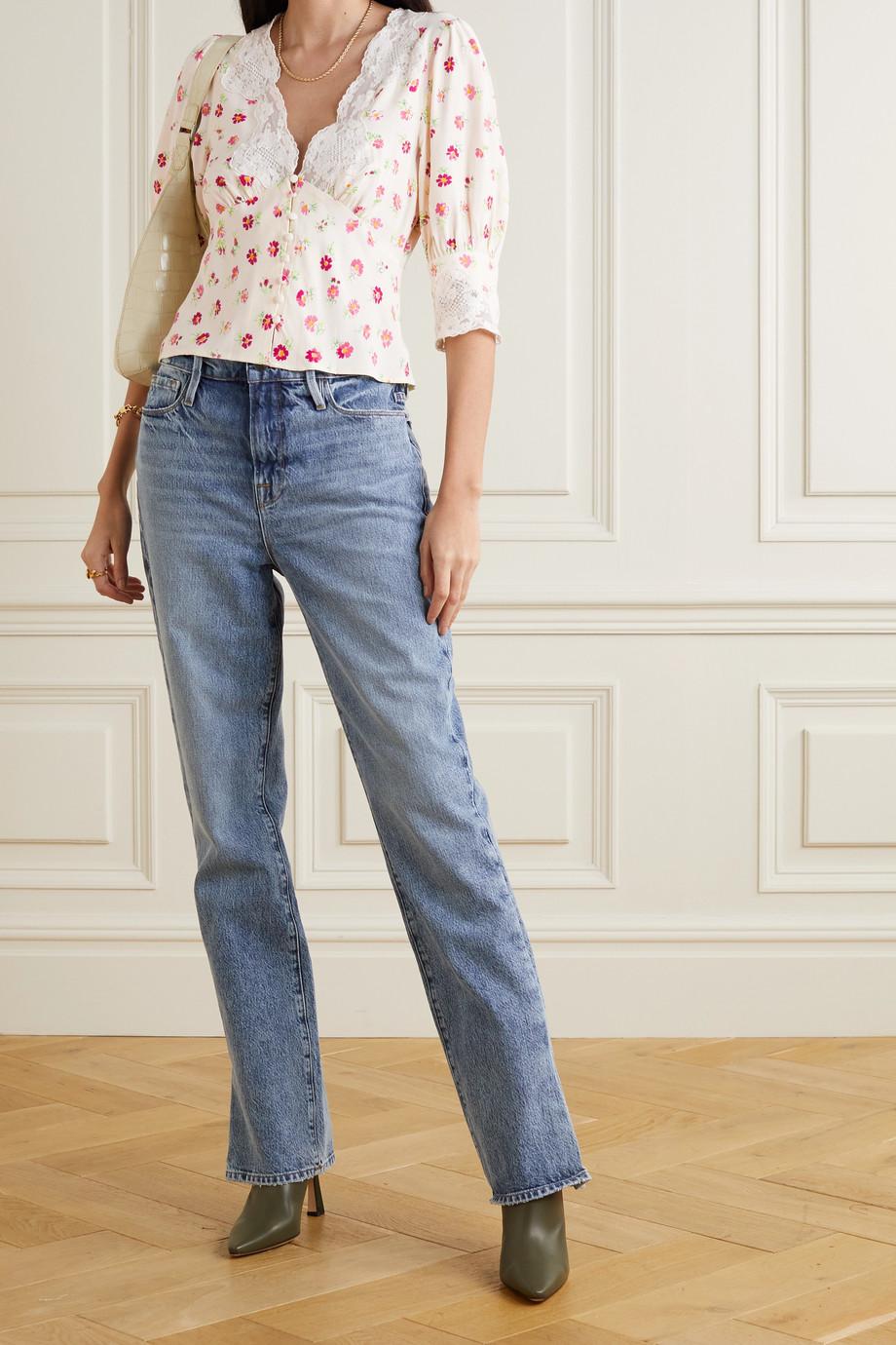 RIXO Amanda cropped lace-trimmed floral-print crepe de chine blouse