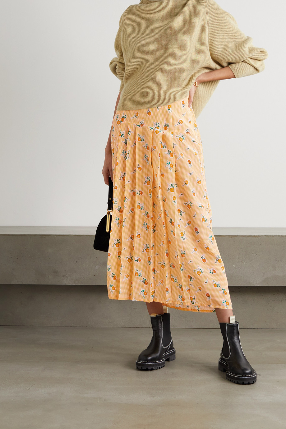 RIXO Nancy pleated floral-print silk-crepe midi skirt