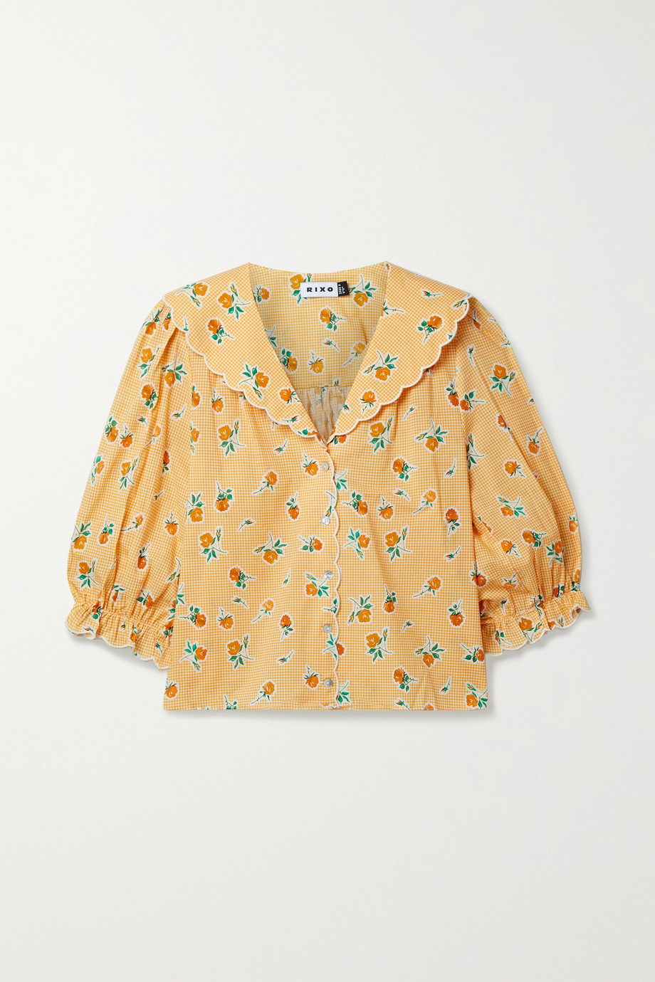 RIXO Carly scalloped printed cotton blouse