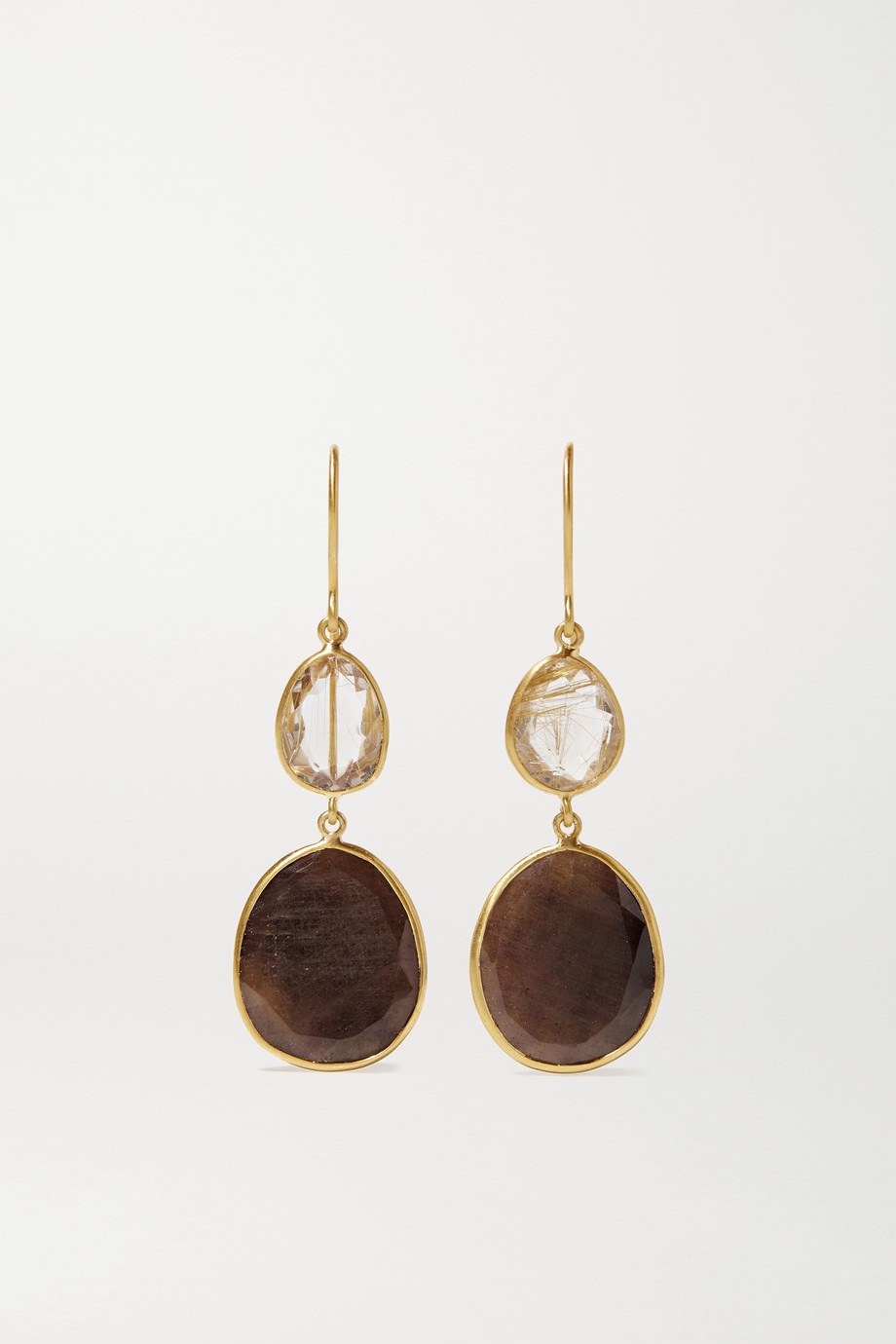 Pippa Small 18-karat gold, sapphire and quartz earrings