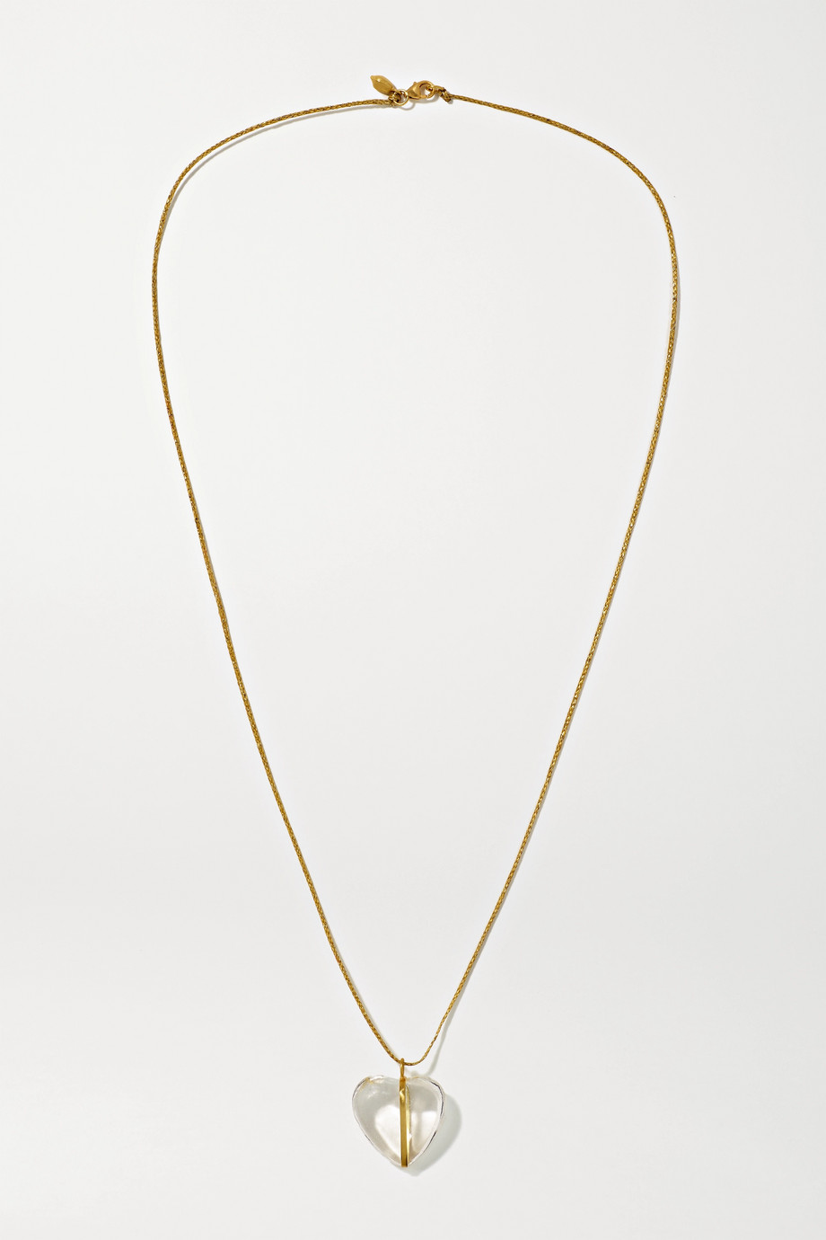 Pippa Small 18-karat gold, cord and crystal necklace