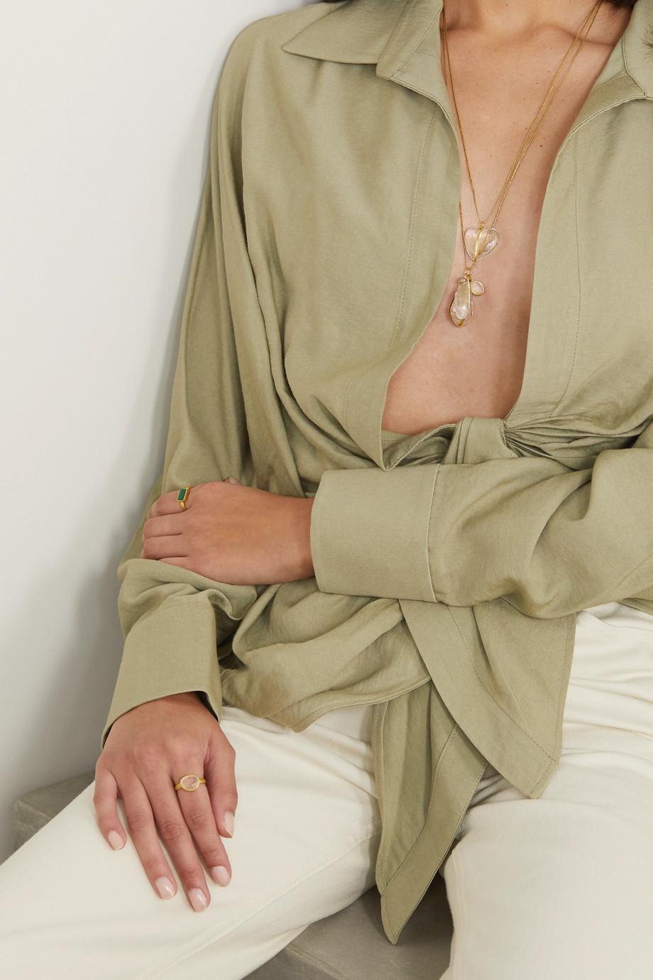 Pippa Small 18-karat gold, cord and quartz necklace