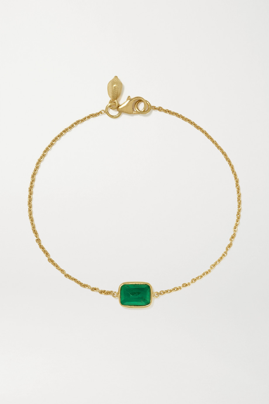 Pippa Small 18-karat gold emerald bracelet