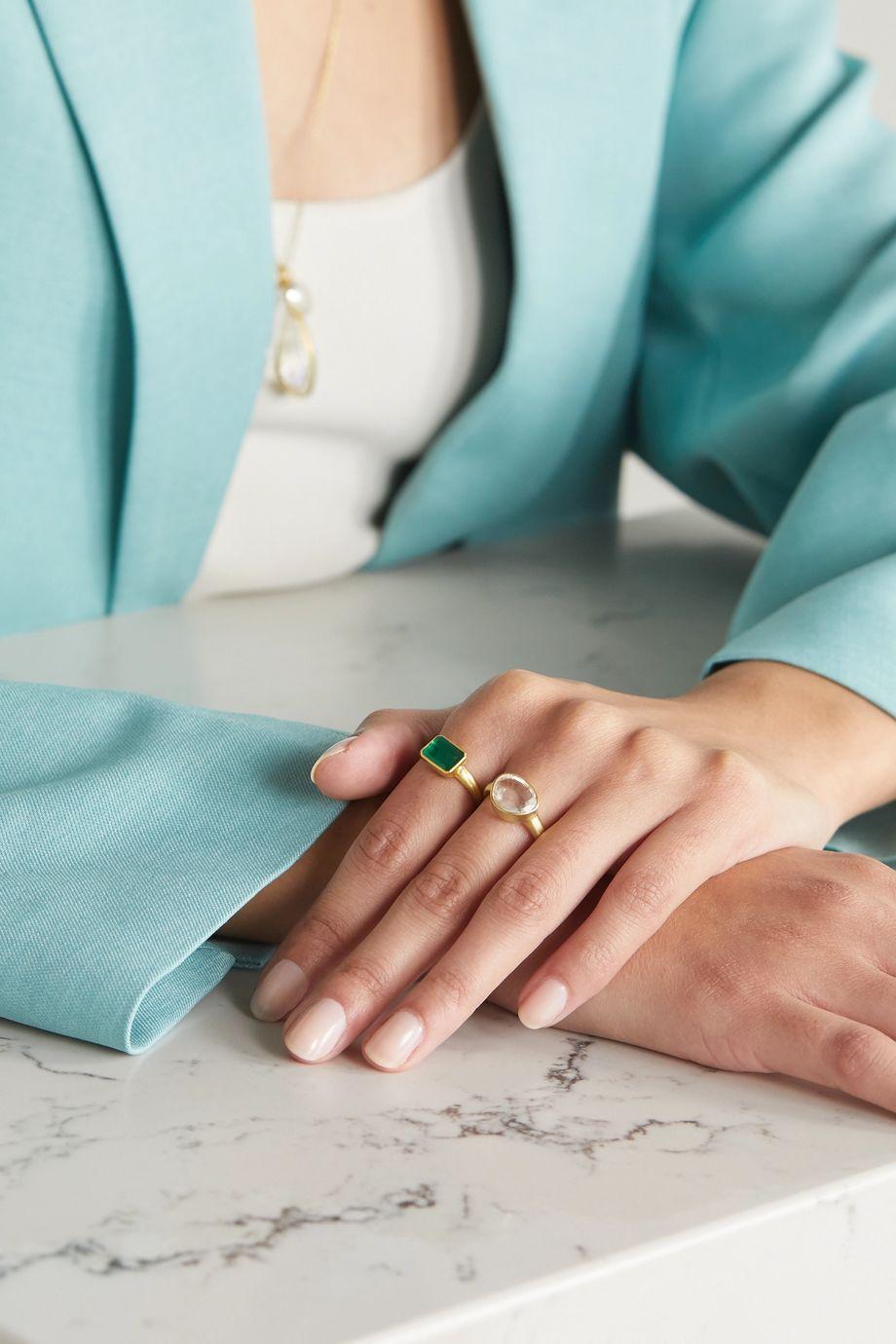 Pippa Small 18-karat gold quartz ring