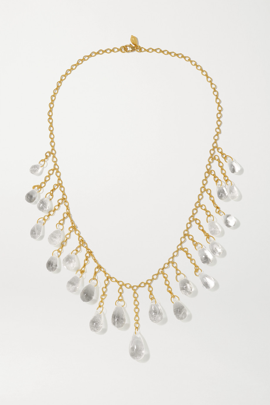 Pippa Small 18-karat gold quartz necklace