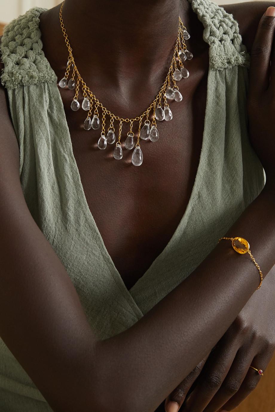 Pippa Small 18-karat gold quartz necklace
