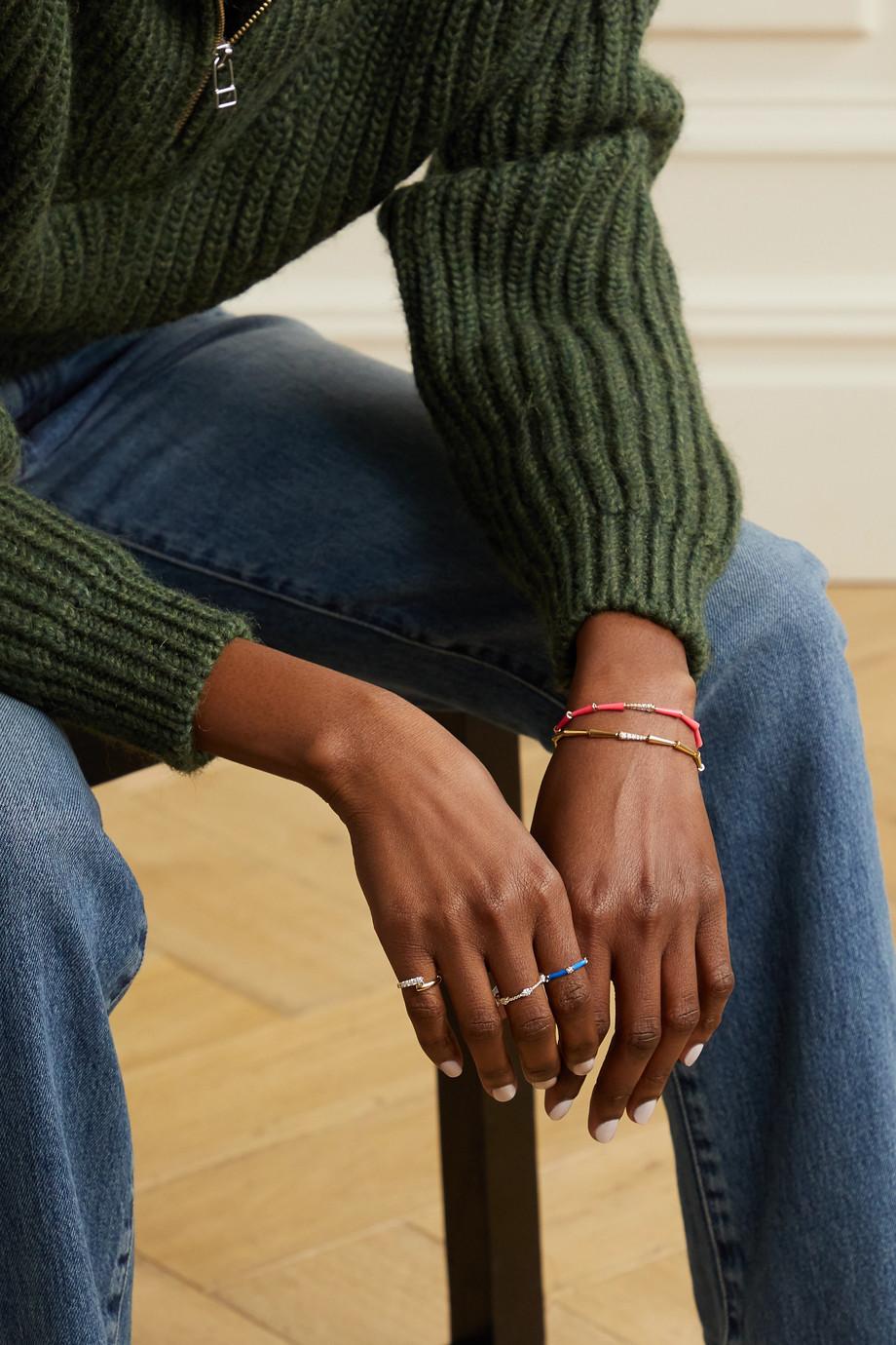 Melissa Kaye Zea 18-karat rose gold, enamel and diamond ring