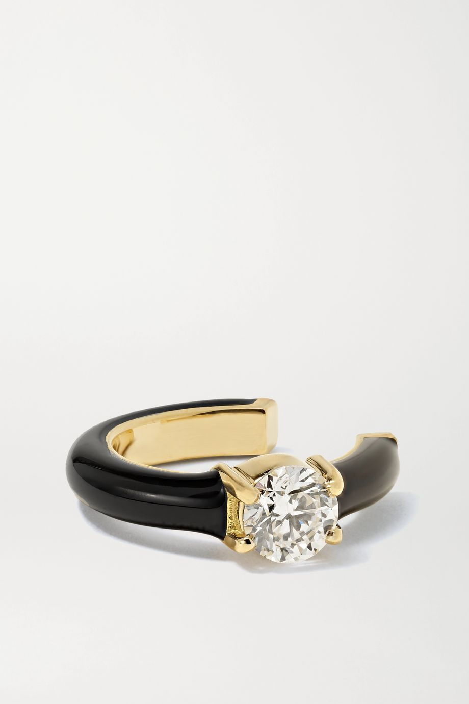 Melissa Kaye Aria U 18-karat gold, enamel and diamond ear cuff