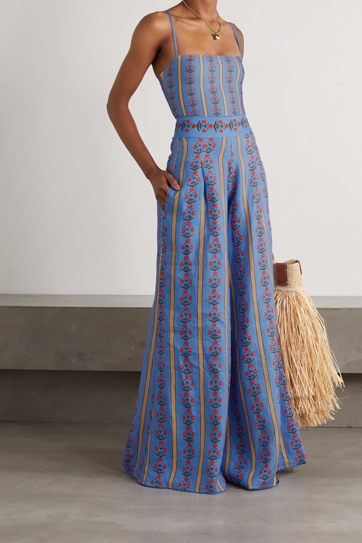 Agua by Agua Bendita Azahar floral-print linen wide-leg pants