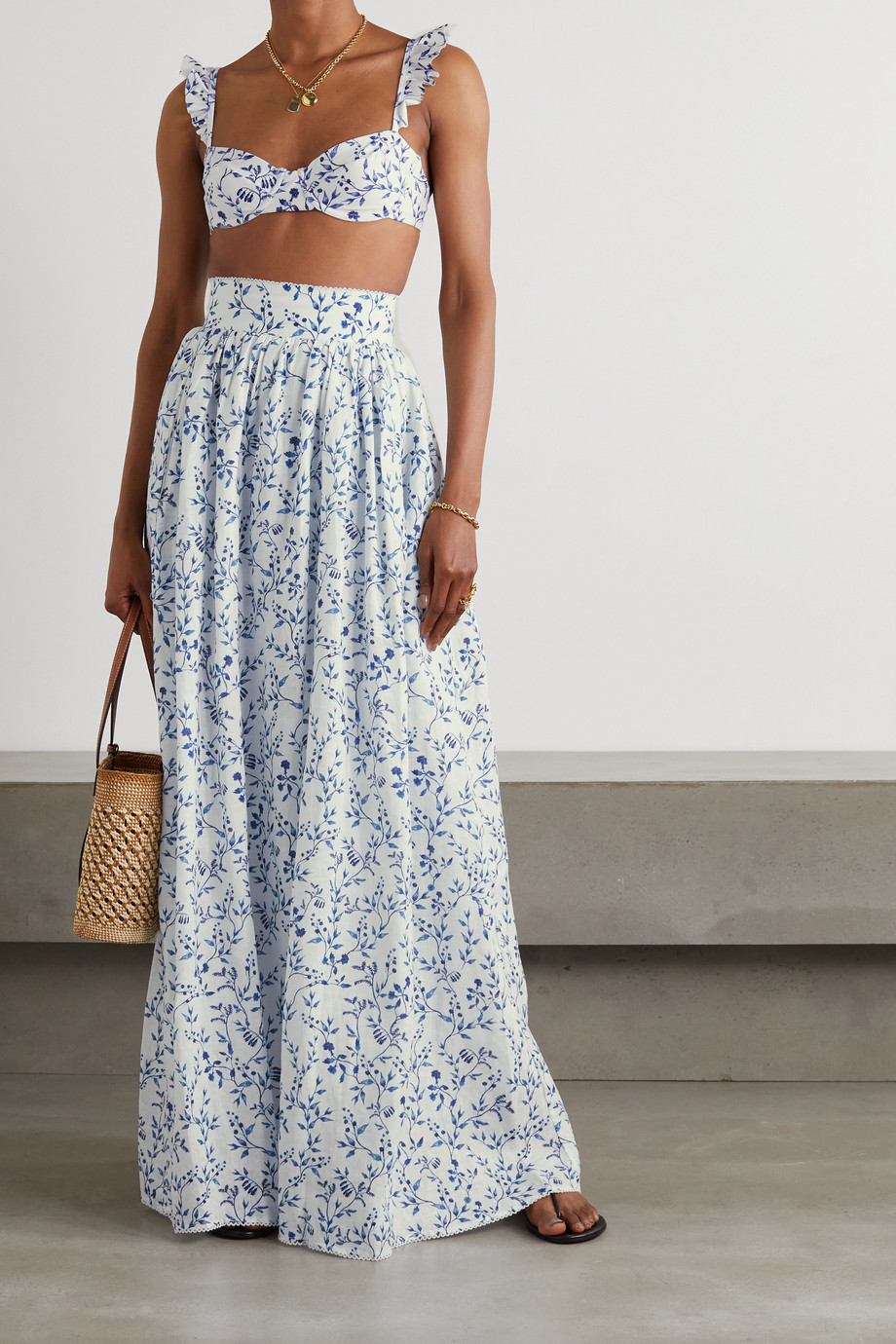 Agua by Agua Bendita Printed cotton maxi skirt