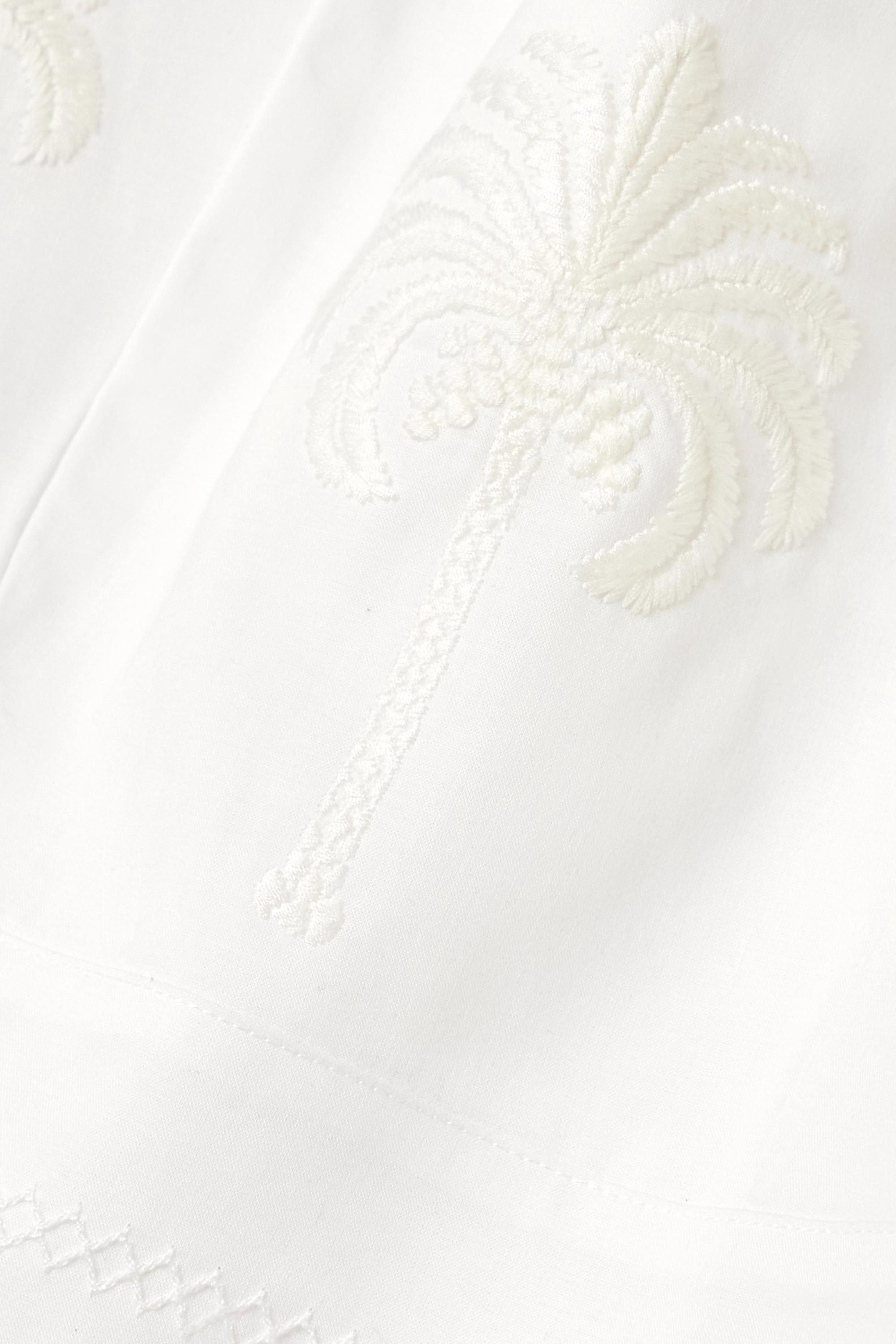 Agua by Agua Bendita Violeta cropped embroidered cotton top