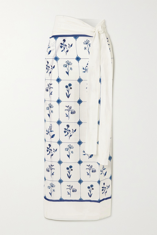 Agua by Agua Bendita Lavanda floral-print cotton and silk-blend pareo
