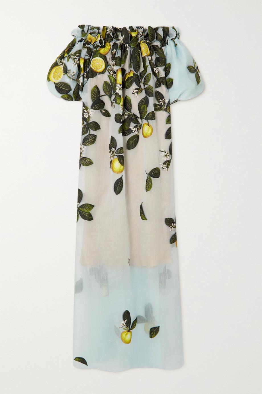 Oscar de la Renta Off-the-shoulder embroidered silk-blend crepon gown