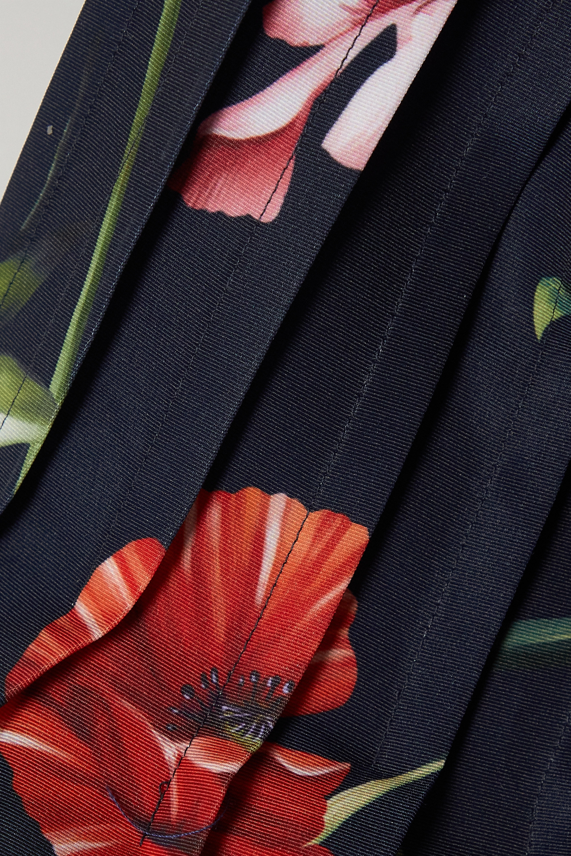 Oscar de la Renta Minikleid aus Crêpe mit Blumenprint und Falten