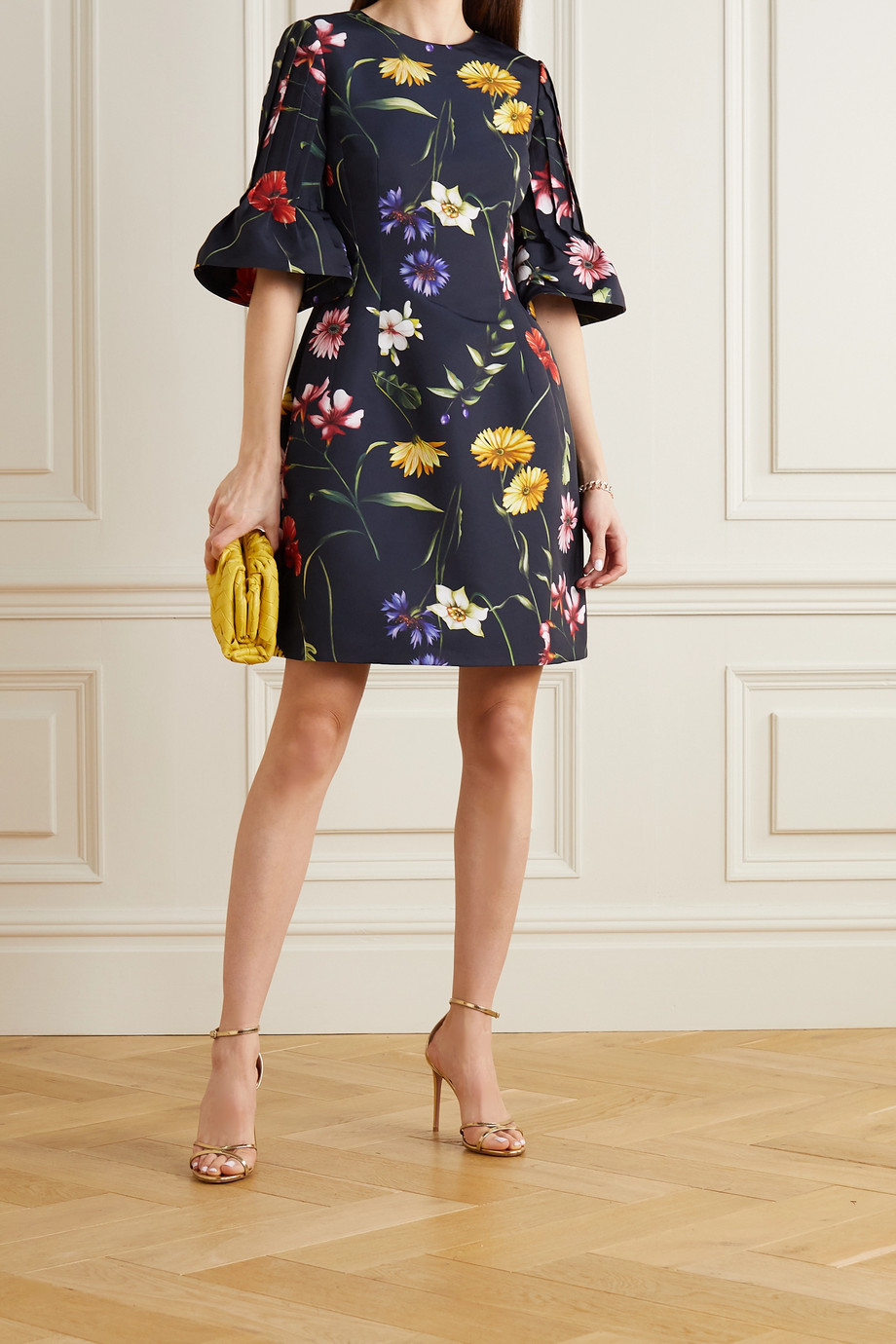 Oscar de la Renta Pleated floral-print crepe mini dress
