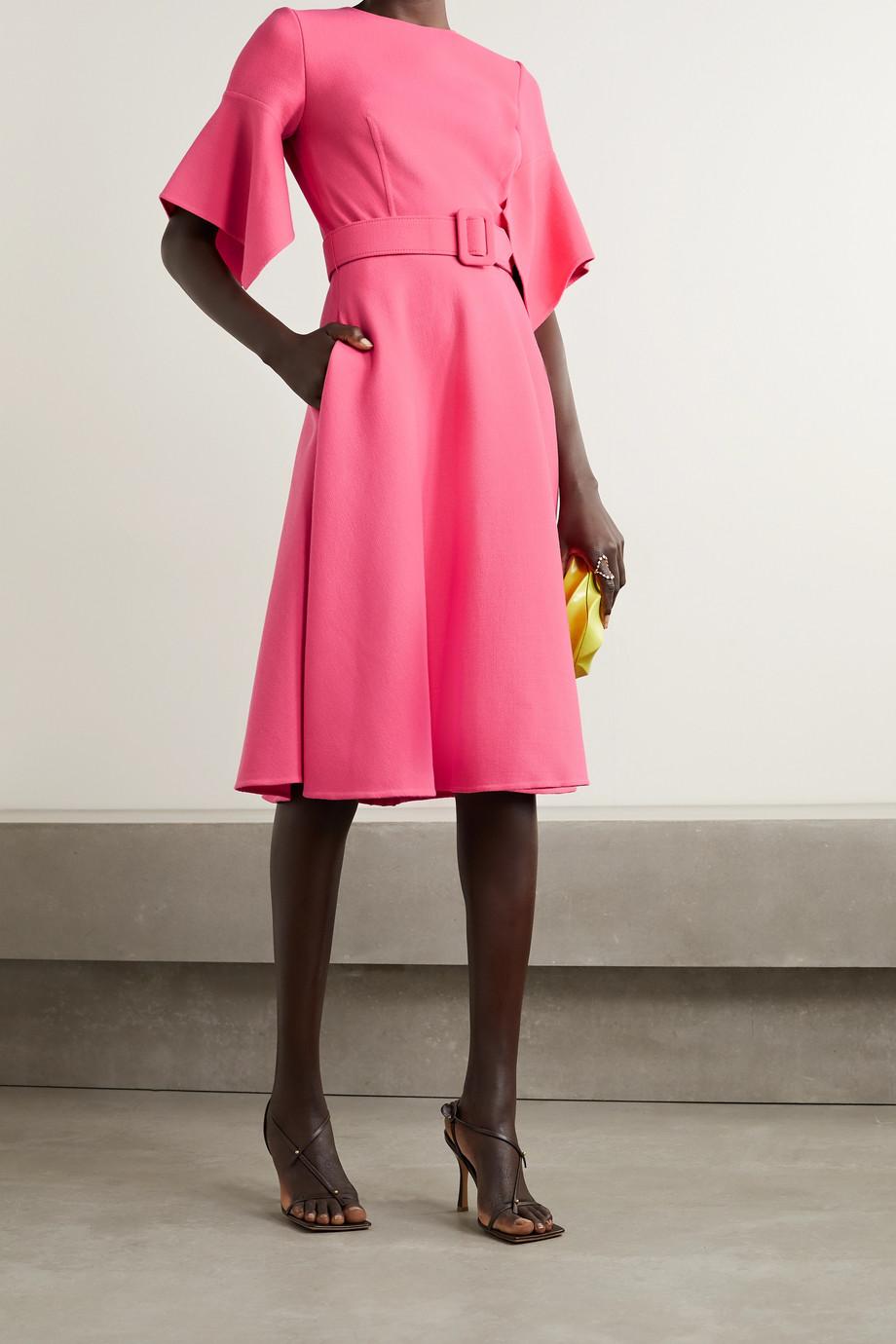 Oscar de la Renta Belted wool-blend gauze dress