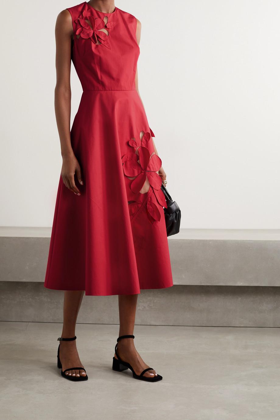 Oscar de la Renta Appliquéd tulle-paneled cotton-blend poplin midi dress