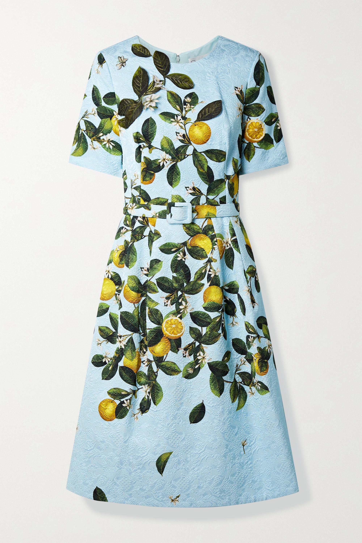 Oscar de la Renta Kleid aus bedrucktem Jacquard mit Applikationen und Gürtel