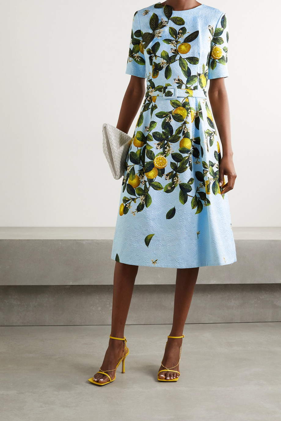 Oscar de la Renta Belted appliquéd printed jacquard dress