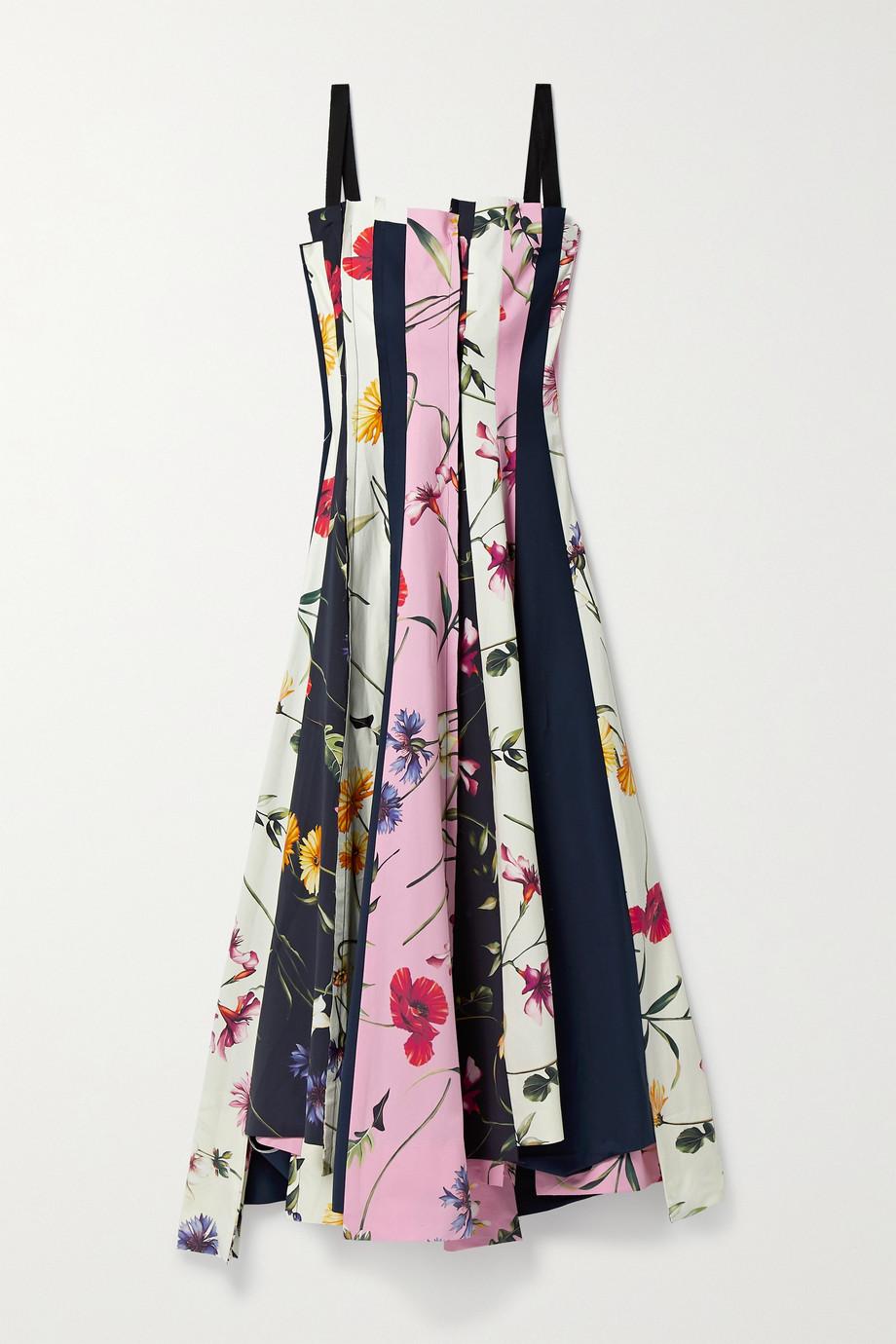 Oscar de la Renta Asymmetrisches Midikleid aus Popeline aus einer Baumwollmischung mit Blumenprint
