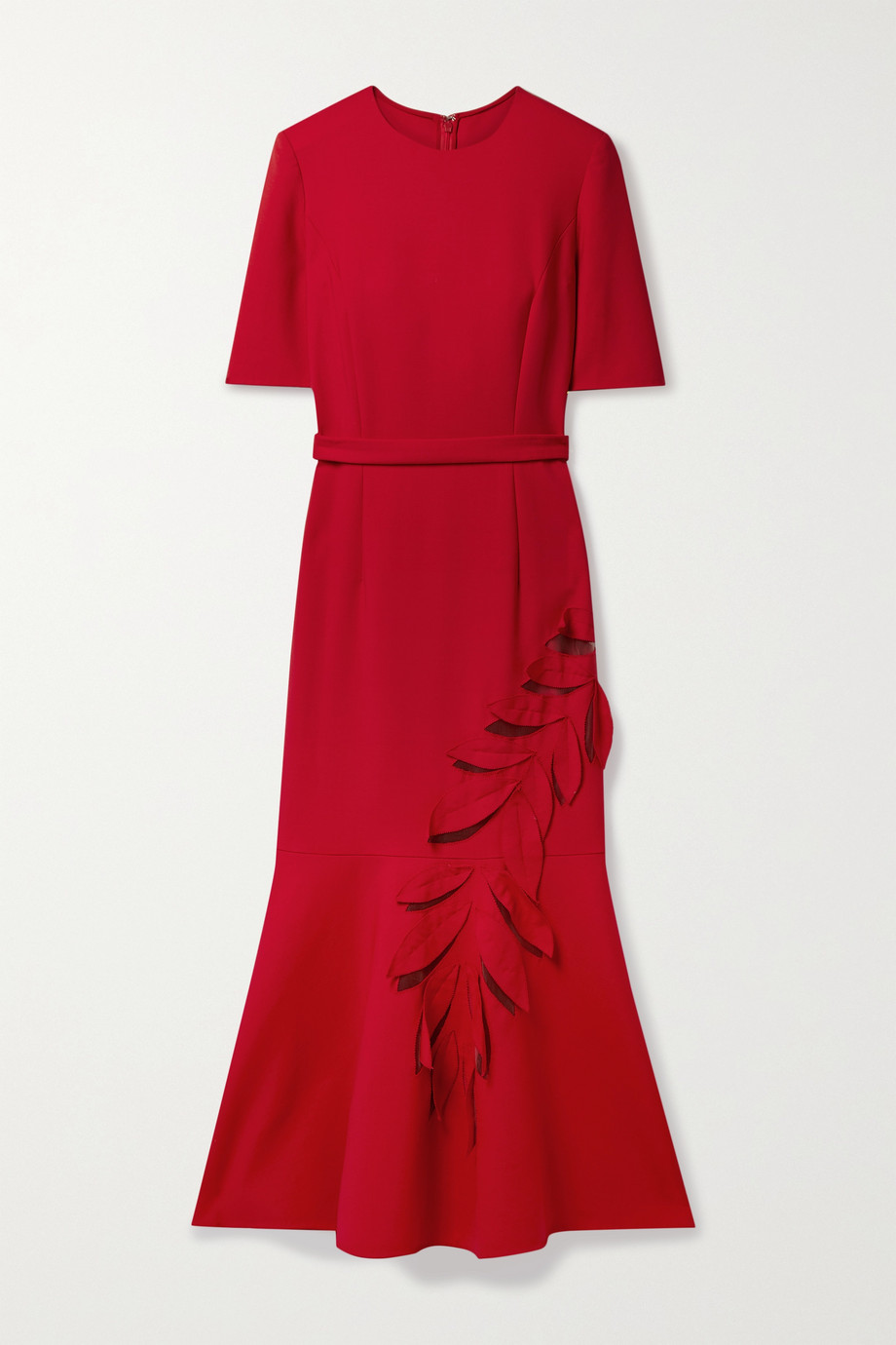 Oscar de la Renta Belted appliquéd tulle-paneled wool-blend crepe midi dress