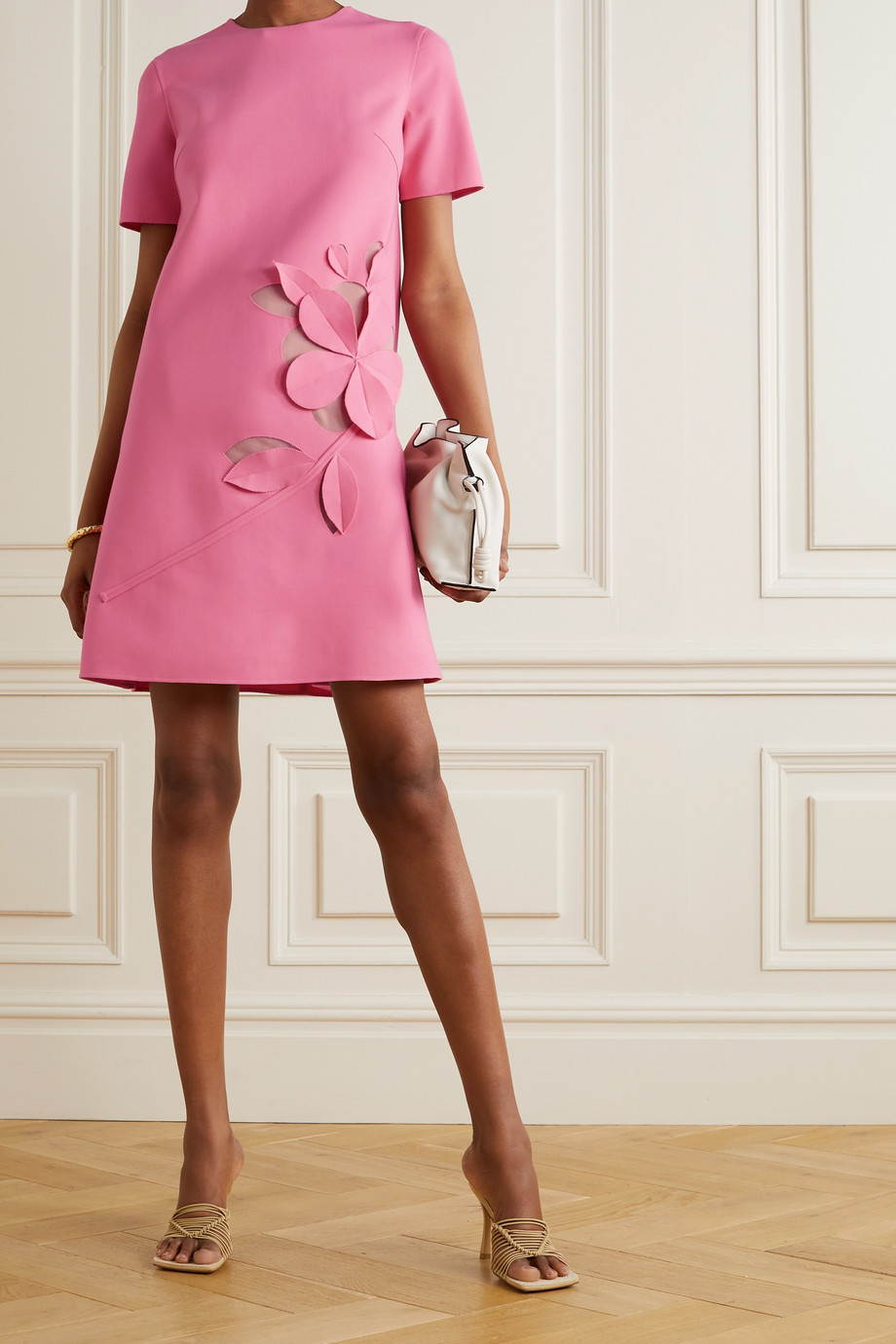 Oscar de la Renta Cutout stretch wool-blend mini dress