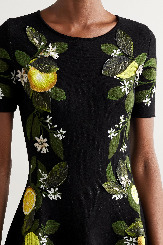 Oscar de la Renta Minikleid aus Jacquard aus einer Seidenmischung mit Applikationen