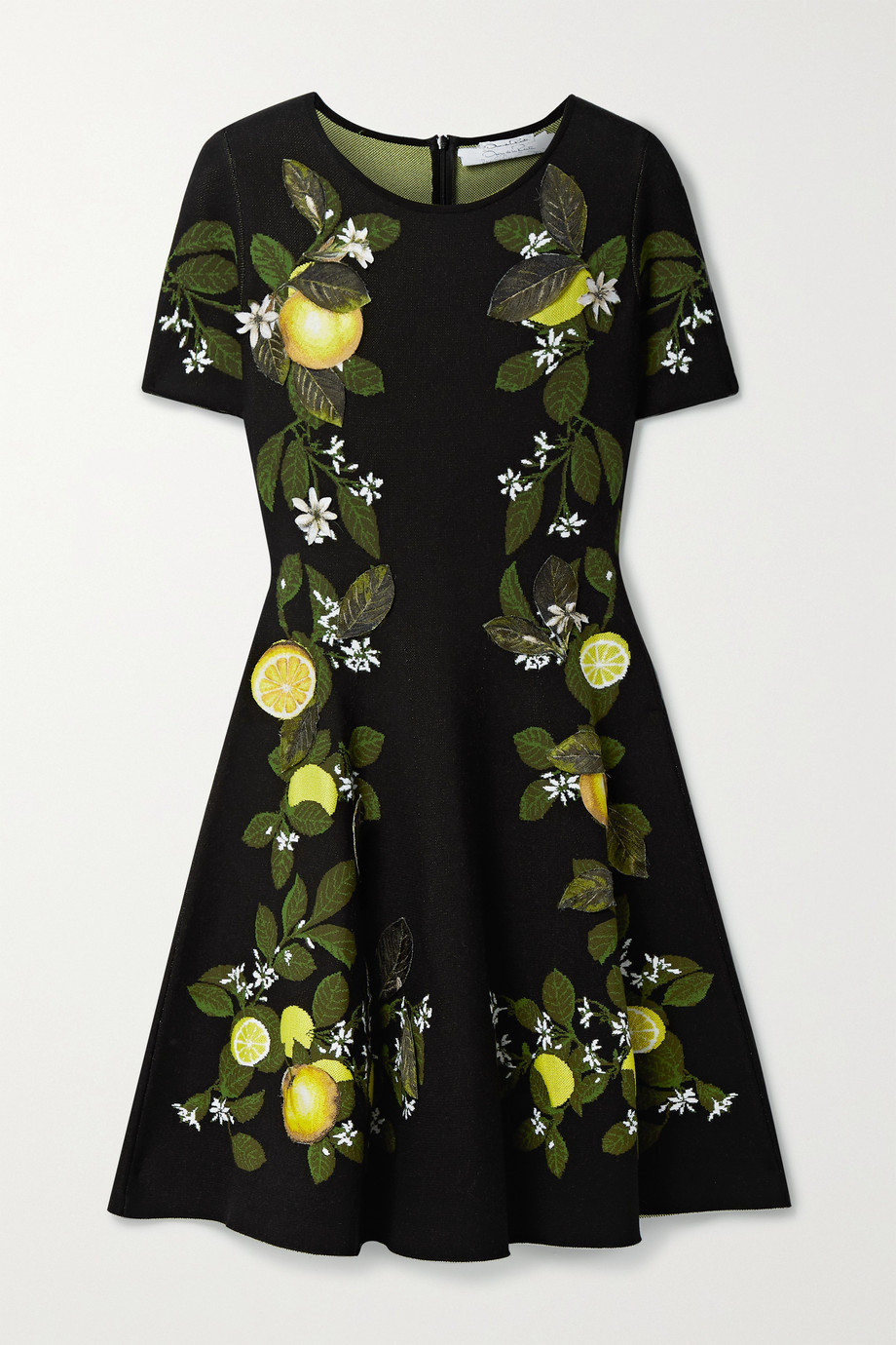 Oscar de la Renta Appliquéd silk-blend jacquard mini dress