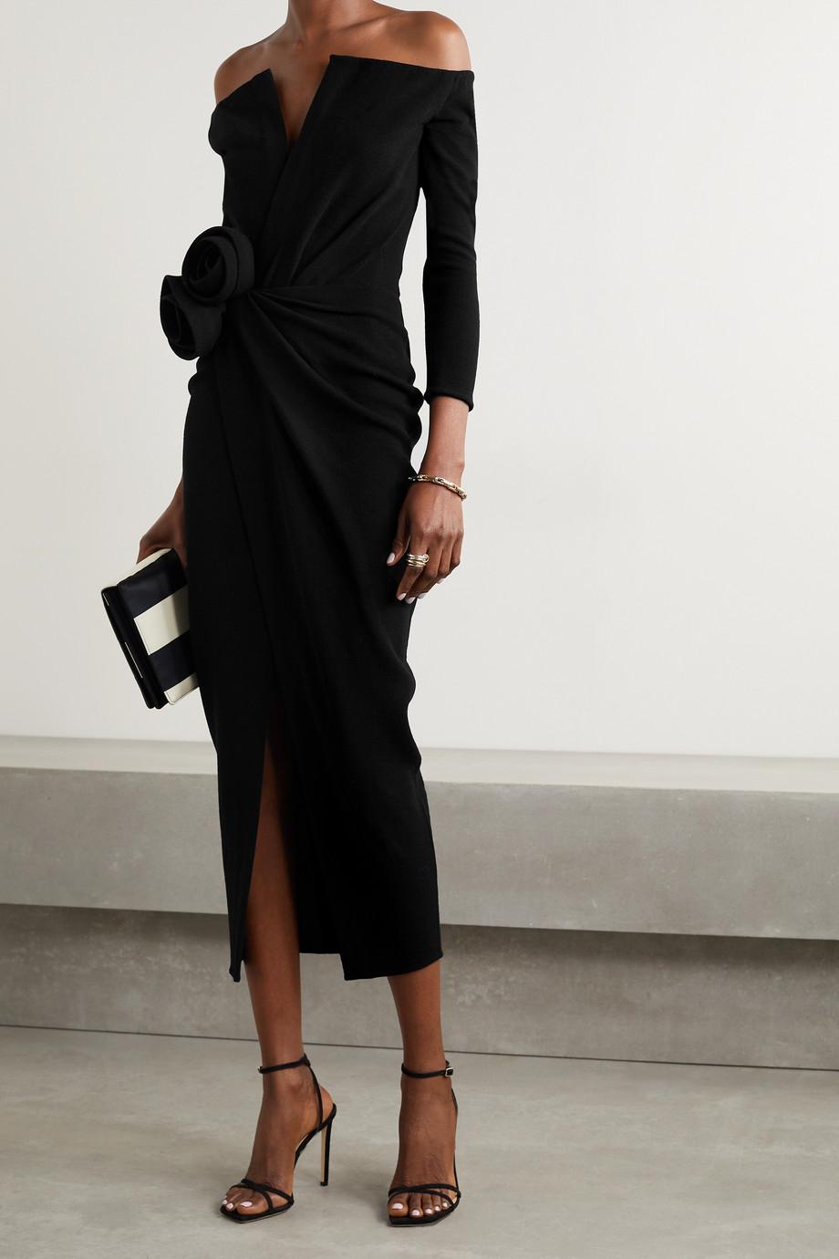 Oscar de la Renta Off-the-shoulder appliquéd gathered wool-blend crepe midi dress