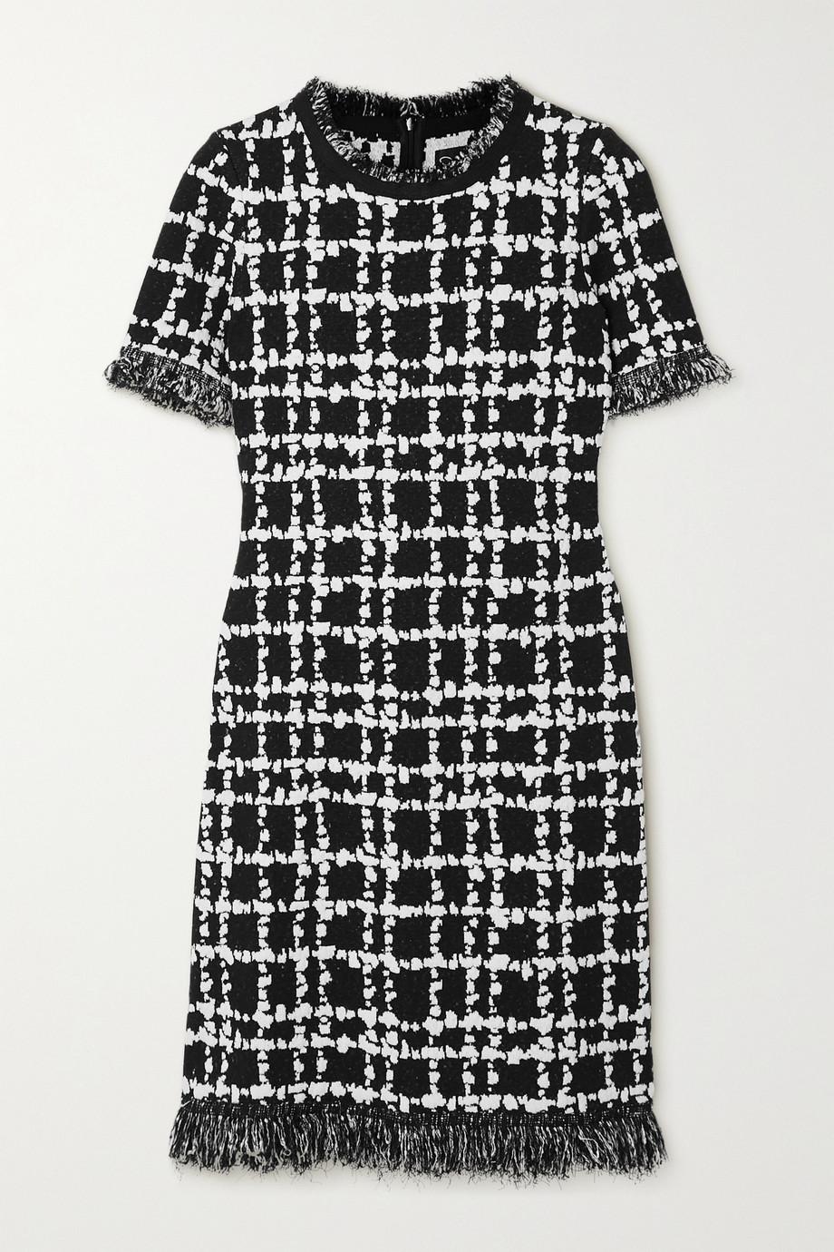 Oscar de la Renta Frayed jacquard-knit mini dress