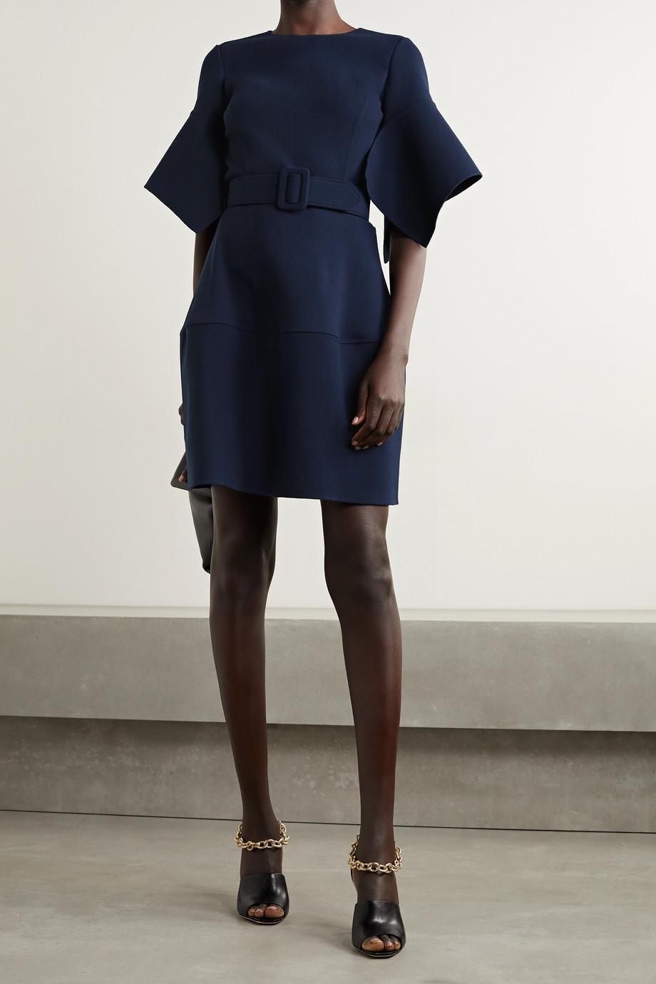 Oscar de la Renta Belted wool-blend gauze mini dress