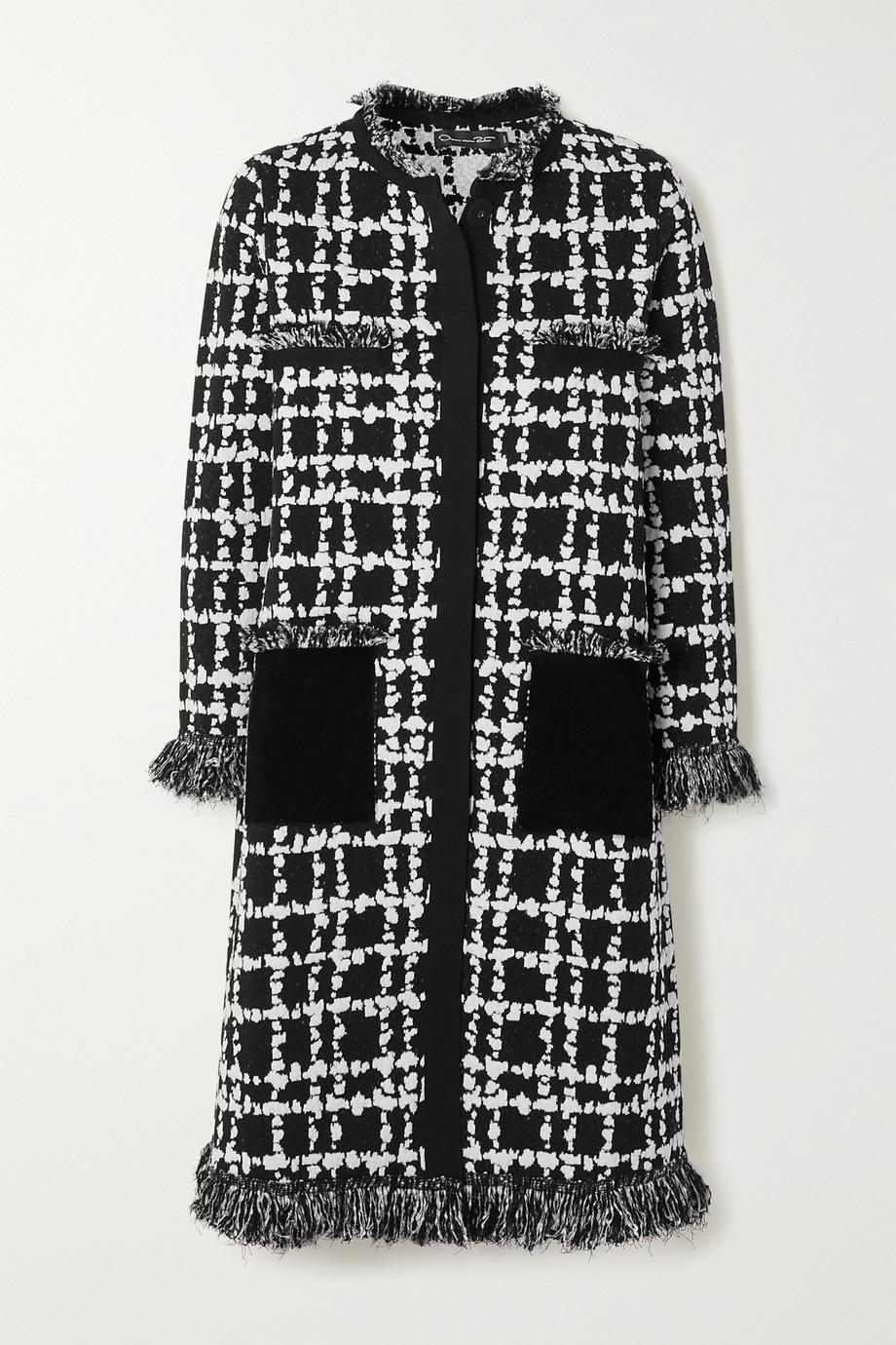 Oscar de la Renta Fringed two-tone jacquard-knit coat