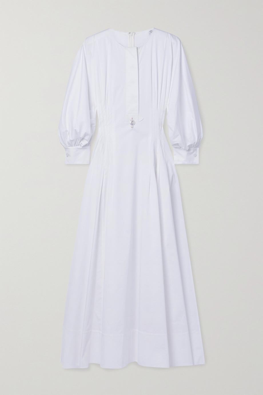 Oscar de la Renta Pearl-embellished pintucked cotton-blend poplin midi dress