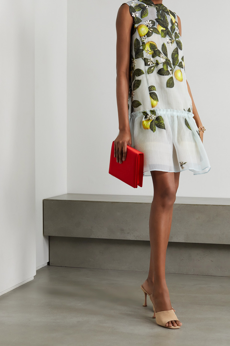 Oscar de la Renta Embroidered silk-blend organza mini dress