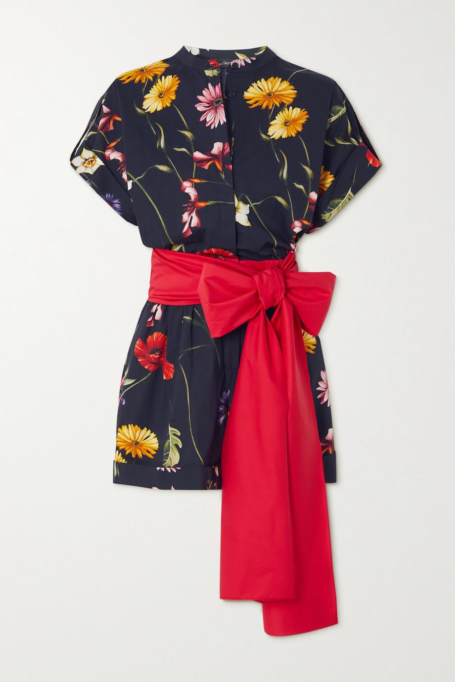 Oscar de la Renta Bow-detailed floral-print cotton-blend poplin playsuit