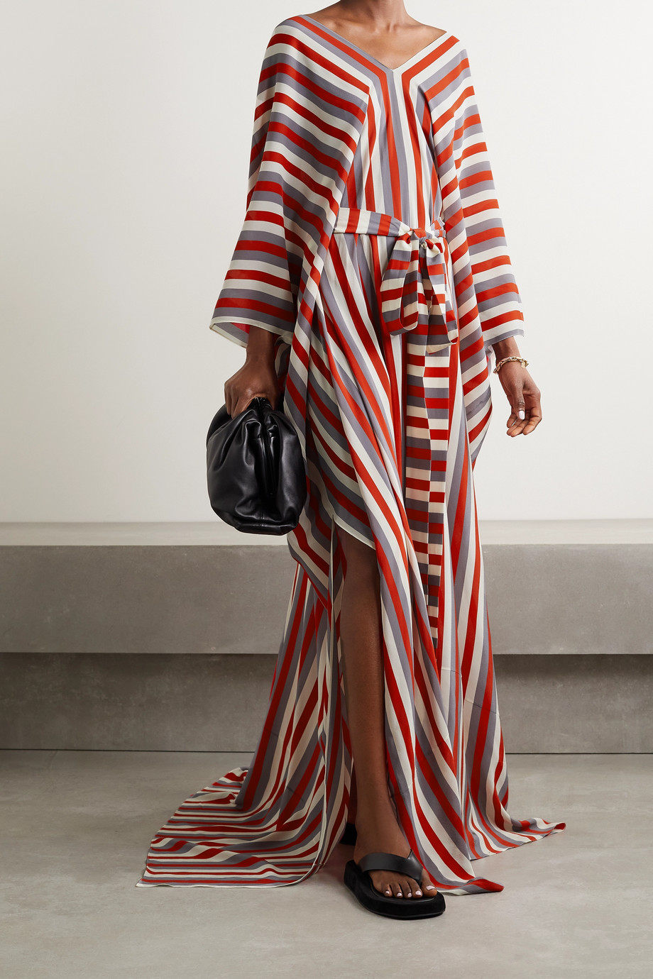 Oscar de la Renta Belted striped silk-crepe kaftan