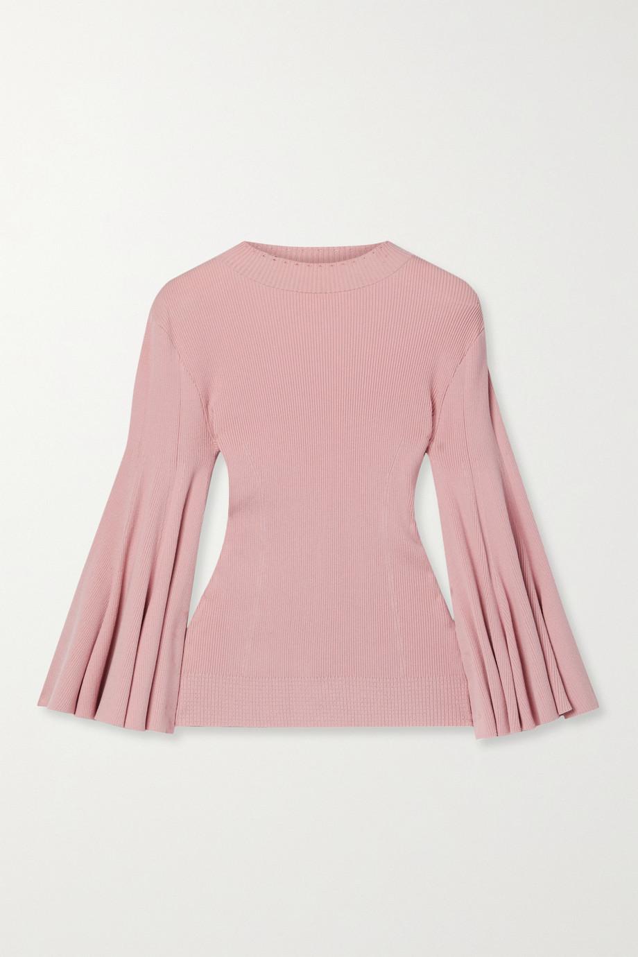 Oscar de la Renta Pointelle-trimmed ribbed silk-blend sweater