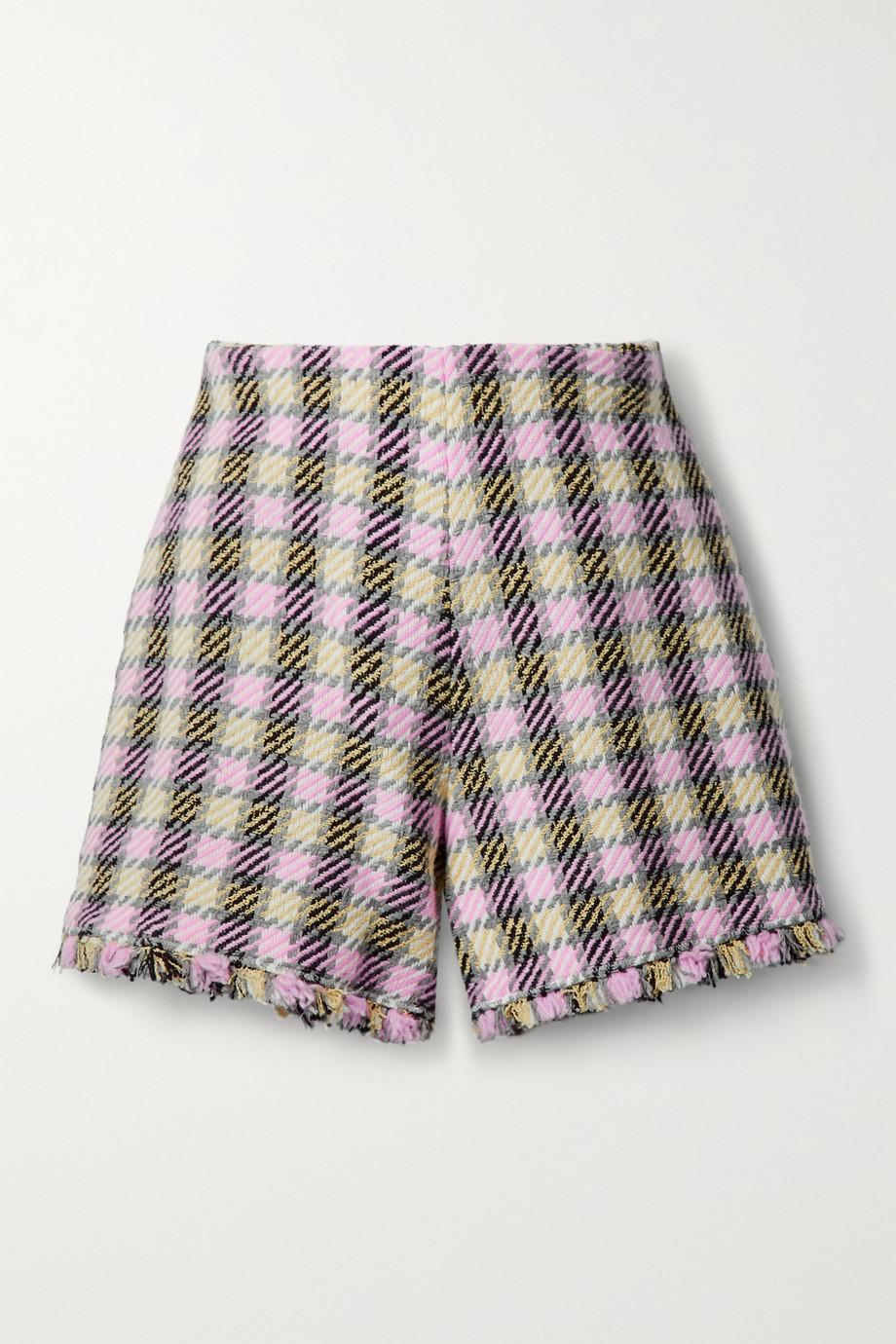Oscar de la Renta Frayed checked tweed shorts
