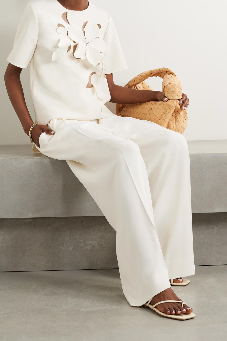 Oscar de la Renta Appliquéd tulle-paneled wool-blend crepe top