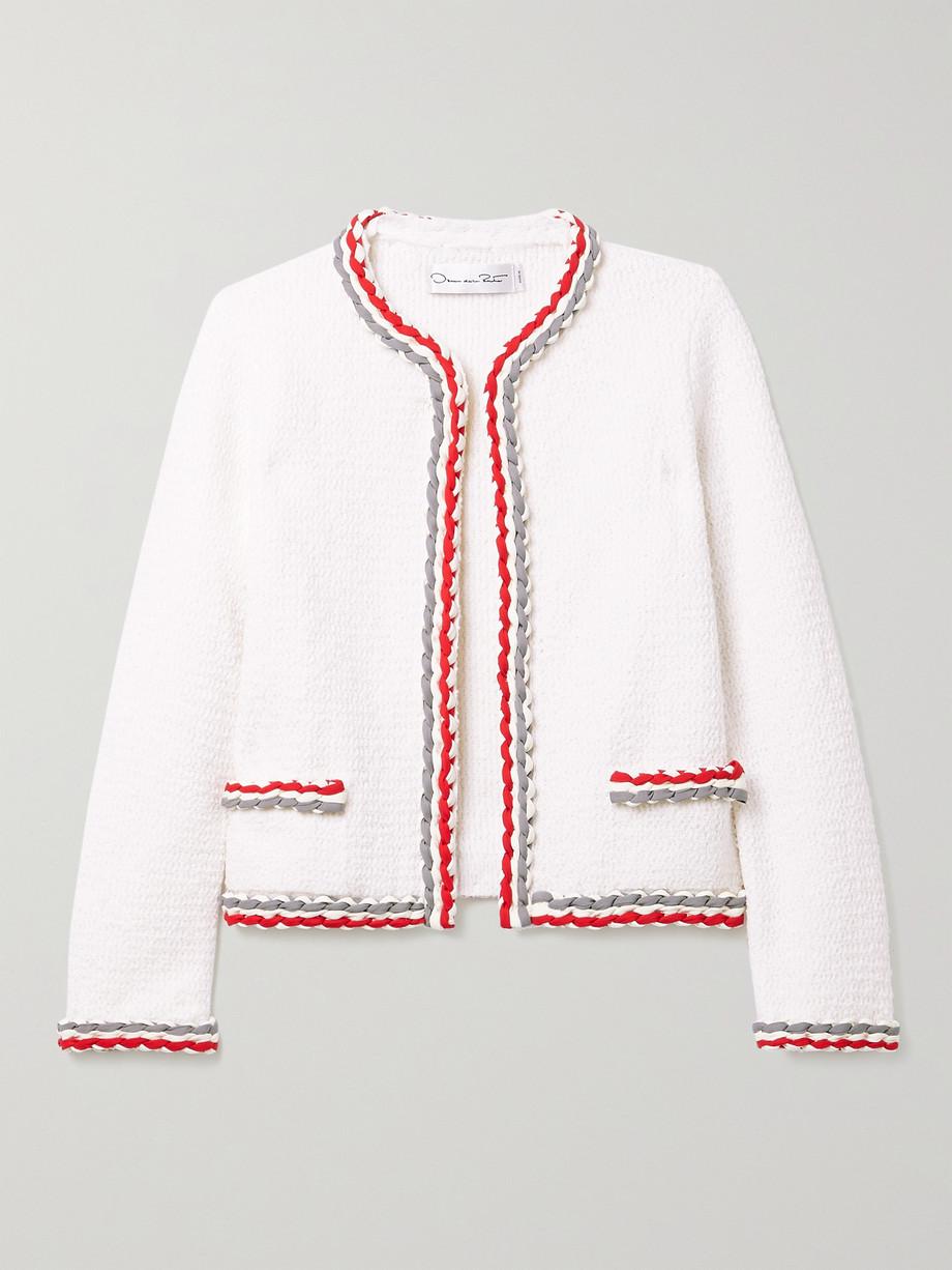 Oscar de la Renta Braided-trimmed wool-blend cardigan