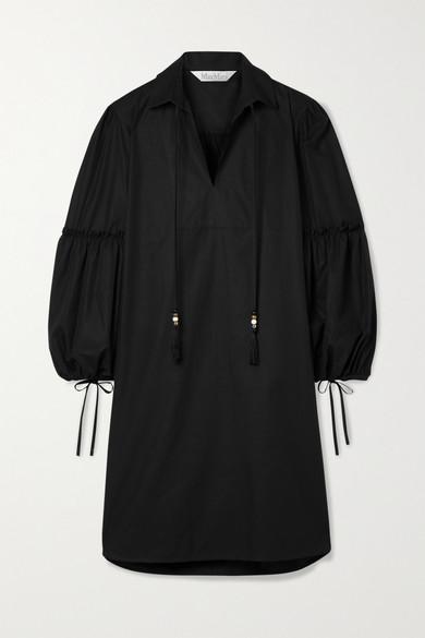 Max Mara Cottons FEDORA TASSELED COTTON-POPLIN DRESS