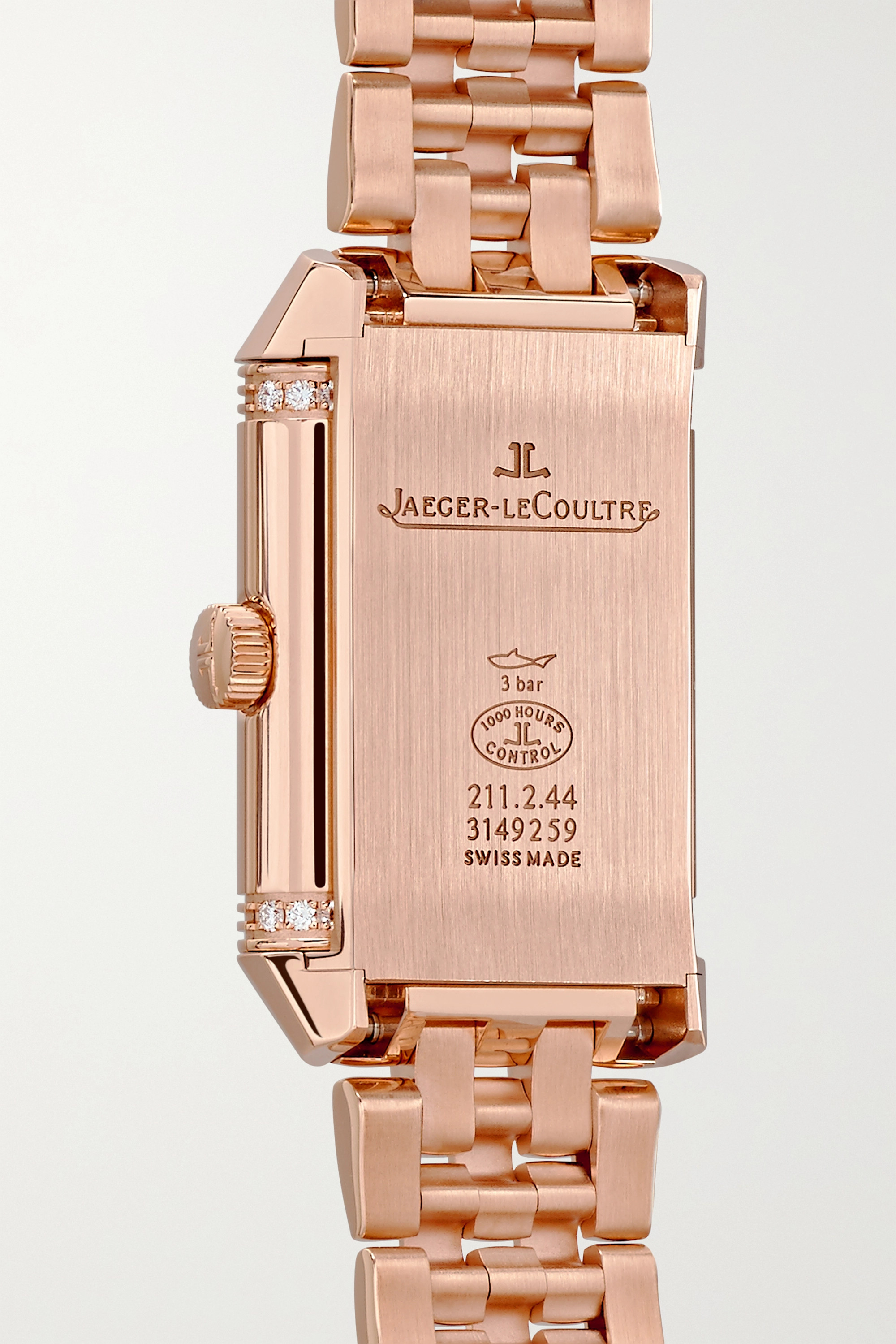 Jaeger-LeCoultre Reverso Classic Duetto 21 mm kleine Uhr aus Roségold mit Diamanten und Handaufzug