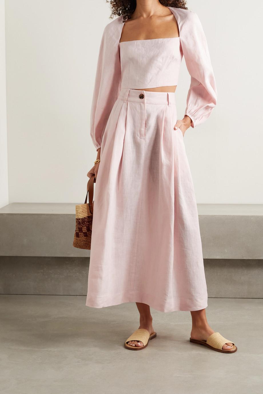 Mara Hoffman + NET SUSTAIN Tulay pleated hemp skirt