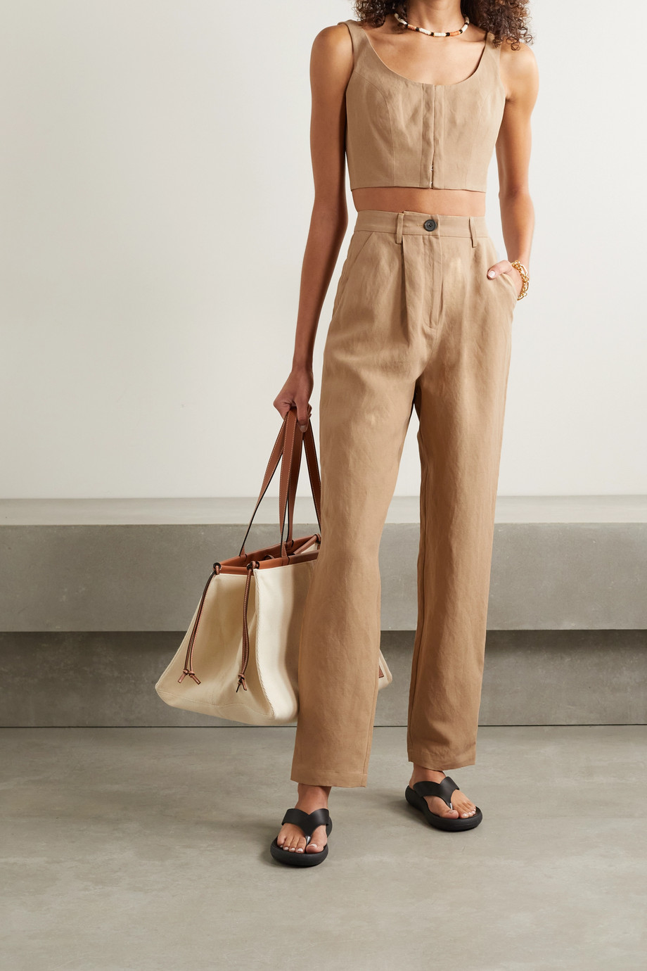 Mara Hoffman + NET SUSTAIN Aisha cropped TENCEL and linen-blend top